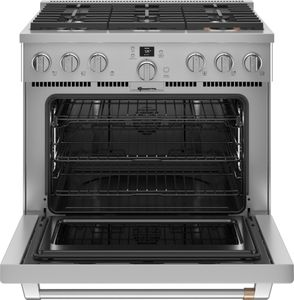 """C2Y366P2TS1 Cafe 36"""" Smart Dual Fuel Commercial Style Range with 6 Burners - Stainless Steel with Brushed Stainless Steel Handle and Knobs"""