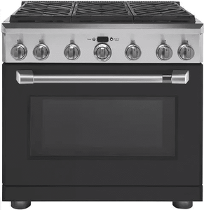 "C2Y366P3MD1 Cafe 36"" Freestanding Professional Dual Fuel Range with Reversible Burner Gates and Self-Clean Oven - Matte Black with Brushed Stainless Handle"