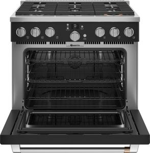 """C2Y366P3TD1 Cafe 36"""" Smart Dual Fuel Commercial Style Range with 6 Burners - Matte Black with Brushed Stainless Steel Handle and Knobs"""