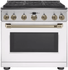 """C2Y366P4MW2 Cafe 36"""" Freestanding Professional Dual Fuel Range with Reversible Burner Gates and Self-Clean Oven - Matte White with Brushed Bronze Handle and Knobs"""