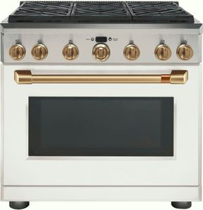 "C2Y366P4MW2 Cafe 36"" Freestanding Professional Dual Fuel Range with Reversible Burner Gates and Self-Clean Oven - Matte White with Brushed Bronze Handle and Knobs"
