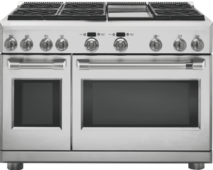 "C2Y486P2MS1 Cafe 48"" Dual Fuel Professional Range with Reversible Burner Gates and Professional Oven System - Stainless Steel with Brushed Stainless Handles"