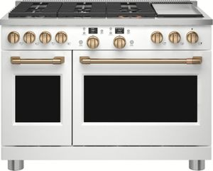 """C2Y486P4TW2 Cafe 48"""" Professional Series Dual-Fuel Commercial-Style Range with 6 Burners and Griddle - Matte White with Brushed Bronze Handles and Knobs"""