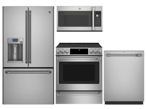 Package Cafe2 - Cafe Appliances - 4 Piece Appliance Package with Electric Range - Includes Free Microwave - Stainless Steel