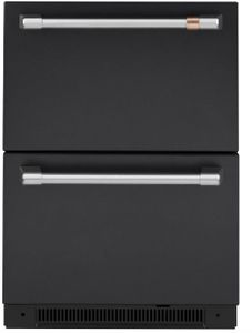 """CDE06RP3ND1 Cafe 24"""" Built-In Dual Drawer Refrigerator with Soft Close Doors and LED Lighting - Matte Black with Brushed Stainless Steel Handles"""