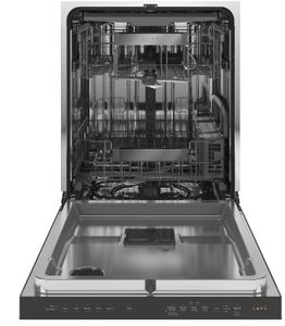 """CDT805M5NS5 Cafe 24"""" Modern Glass Collection Stainless Interior Built-In Dishwasher with Hidden Controls & Dry and Wash Zones - Platinum"""