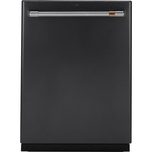 "CDT836P3MD1 GE Cafe 24"" Fully Integrated Dishwasher with 140 Cleaning Jets and Deep Clean Silverware Jets - Matte Black with Brushed Stainless Handle"