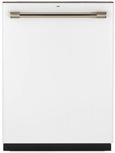 "CDT836P4MW2 GE Cafe 24"" Fully Integrated Dishwasher with 140 Cleaning Jets and Deep Clean Silverware Jets - Matte White with Brushed Bronze Handle"
