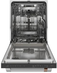 "CDT845P4NW2 Cafe 24"" Built-In Dishwasher with UltraWash & Dry and Wash Zones - Matte White with Brushed Bronze Handle"