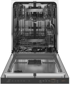 "CDT855M5NS5 Cafe 24"" Modern Glass Collection Built-In Hidden Control Dishwasher with UltraWash & Dry Plus and WiFi Connect - Platinum"