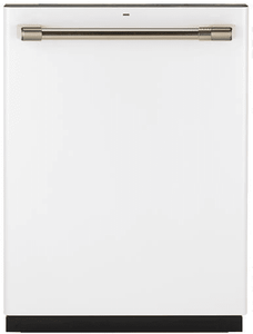 "CDT866P4MW2 Cafe 24"" Fully Integrated Dishwasher with 140 Cleaning Jets and Wi-Fi Connect - Matte White with Brushed Bronze Handle"