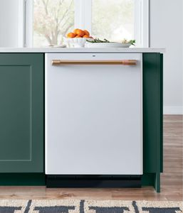 """CDT866P4MW2 Cafe 24"""" Fully Integrated Dishwasher with 140 Cleaning Jets and Wi-Fi Connect - Matte White with Brushed Bronze Handle"""