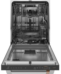"CDT875P3ND1 Cafe 24"" Built-In Hidden Control Dishwasher with UltraWash & Dry Plus and WiFi Connect - Matte Black with Brushed Stainless Steel Handle"