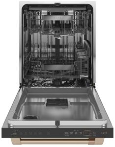 "CDT875P4NW2 Cafe 24"" Matte Collection Built-In Dishwasher with UltraWash & Dry Plus and WiFi Connect - Matte White with Brushed Bronze Handle"