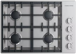 """CDV2304HNN Fisher & Paykel 30"""" Drop-In Cooktop with 4 Burners and a Halo - Natural Gas - Stainless Steel"""