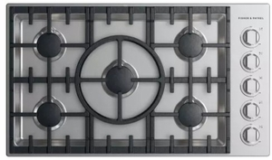 """CDV2365HNN Fisher & Paykel 36"""" Drop-In Cooktop with 5 Burners and a Halo - Natural Gas - Stainless Steel"""