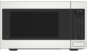 "CEB515P4MWM Cafe 22"" Countertop Convection Microwave Oven with Recessed Turn Table and Auto Bake - Matte White"