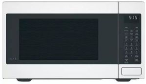 """CEB515P4MWM Cafe 22"""" Countertop Convection Microwave Oven with Recessed Turn Table and Auto Bake - Matte White - CLEARANCE"""
