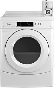 """CED9150GW Whirlpool 27"""" Commercial Electric Front-Load Dryer with OneTouch Cycle Selection and Factory Installed Coin Box - White"""