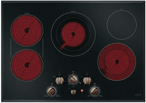 "CEP70303MS2 Cafe 30"" Smoothtop Electric Cooktop with 5 Radiant Cooking Elements and LED Backlit Knobs - Black with Brushed Bronze Knobs"
