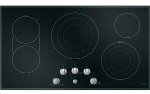 "CEP70362MS1 Cafe 36"" Smoothtop Electric Cooktop with LED Backlit Knobs and Sync-Burners Capability - Black with Brushed Stainless Knobs"