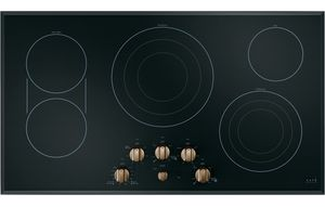 """CEP70363MS2 Cafe 36"""" Smoothtop Electric Cooktop with LED Backlit Knobs and Sync-Burners Capability - Black with Brushed Bronze Knobs"""