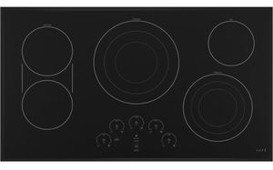 """CEP90361NBB Cafe 36"""" Built In Electric Cooktop with 5 Elements and Touch Controls - Matte Black"""
