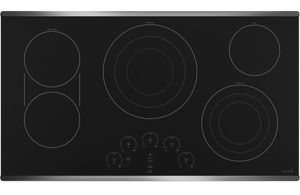 """CEP90362NSS Cafe 36"""" Built In Electric Cooktop with 5 Elements and Touch Controls - Black with Stainless Steel Trim"""