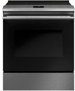 "CES700M2NS5 Cafe 30"" Slide-In Front Control Convection Electric Range with True European Convection and Precise Air - Platinum"