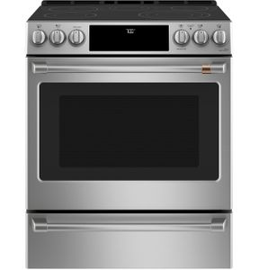 """CES700P2MS1 Cafe 30"""" Slide-In Front Control Electric Range with True European Convection and WiFi Connect - Stainless Steel with Brushed Stainless Steel Handles and Knobs"""