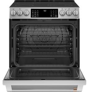 "CES700P2MS1 Cafe 30"" Slide-In Front Control Electric Range with True European Convection and WiFi Connect - Stainless Steel with Brushed Stainless Steel Handles and Knobs"