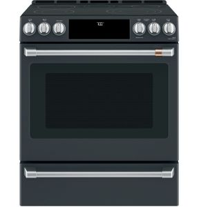 """CES700P3MD1 Cafe 30"""" Slide-In Front Control Convection Electric Range with Warming Drawer and 5 Elements - Matte Black with Brushed Stainless Knobs"""
