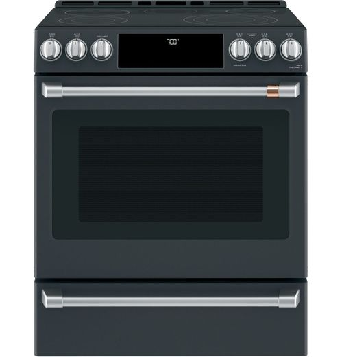 "CES700P3MD1 Cafe 30"" Slide-In Front Control Convection Electric Range with Warming Drawer and 5 Elements - Matte Black with Brushed Stainless Knobs"