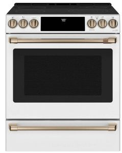 "CES700P4MW2 Cafe 30"" Slide-In Front Control Electric Range with True European Convection and WiFi Connect - Matte White with Brushed Bronze Handles and Knobs"