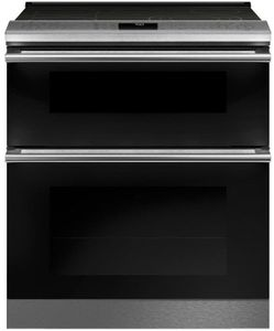 "CES750M2NS5 Cafe 30"" Modern Glass Collection Slide-In Front Control Electric Double Oven Range with True European Convection and WiFi Connect - Platinum Glass with Brushed Stainless Steel Handles"