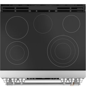 """CES750P2MS1 Cafe 30"""" Slide-In Front Control Electric Double Oven Range with True European Convection and WiFi Connect - Stainless Steel with Brushed Stainless Steel Handles and Knobs"""