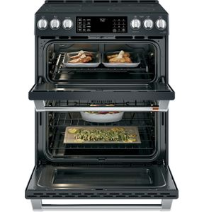 "CES750P3MD1 Cafe 30"" Slide-In Front Control Convection Double Oven Electric Range with Wifi Connect and 5 Elements - Matte Black with Brushed Handles and Knobs"