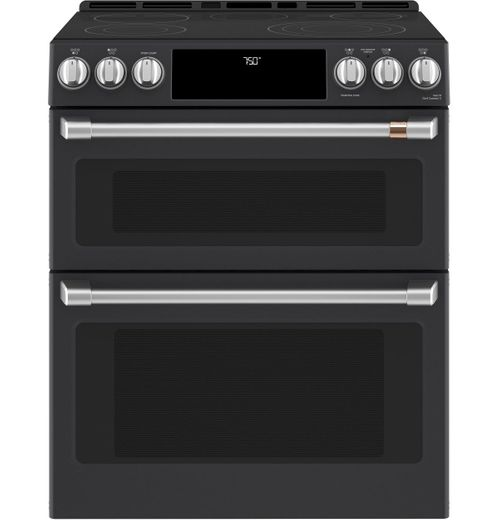 """CES750P3MD1 Cafe 30"""" Slide-In Front Control Convection Double Oven Electric Range with Wifi Connect and 5 Elements - Matte Black with Brushed Handles and Knobs"""