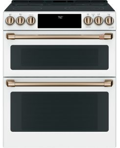 "CES750P4MW2 Cafe 30"" Slide-In Front Control Convection Double Oven Electric Range with Wifi Connect and 5 Elements - Matte White with Brushed Bronze Handles and Knobs"