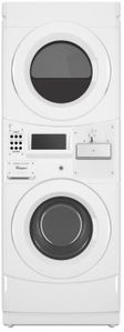 "CET9000GQ Whirlpool 27"" Coin Drop Equipped Electric Commercial Combination Stacked Washer and Dryer with Powerful Drive System and Automatic Load Balancing - White"