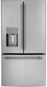 """CFE26KP2NS1 Cafe 36"""" French Door Refrigerator with LED Lighting and Spill Proof Shelves - Stainless Steel with Brushed Stainless Steel Handles"""