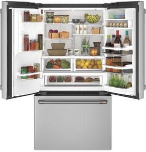 """CFE28TP2MS1 Cafe 36"""" French Door Refrigerator with Hot Water Dispenser and TwinChill Evaporators - Stainless Steel with Brushed Stainless Steel Handles"""