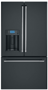 "CFE28TP3MD1 Cafe 36"" French Door Refrigerator with Showcase LED Lighting and Wi-Fi Connect - Matte Black with Brushed Stainless Handles"