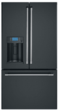 """CFE28TP3MD1 Cafe 36"""" French Door Refrigerator with Showcase LED Lighting and Wi-Fi Connect - Matte Black with Brushed Stainless Handles"""