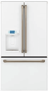 "CFE28TP4MW2 Cafe 36"" French Door Refrigerator with Showcase LED Lighting and Wi-Fi Connect - Matte White with Brushed Bronze Handles"
