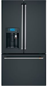 """CFE28UP3MD1 Cafe 36"""" French Door Refrigerator with Keurig K-cup Brewing System - Matte Black with Brushed Stainless Steel Handles"""