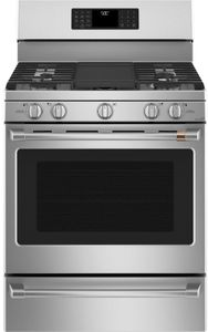 """CGB500P2MS1 Cafe 30"""" Freestanding Gas Range with True European Convection and Wi-Fi Connect - Stainless Steel with Brushed Stainless Steel Handles and Knobs"""