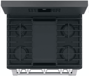 """CGB500P3MD1 Cafe 30"""" Freestanding Gas Range with True European Convection and Wi-Fi Connect - Matte Black with Brushed Stainless Handles - CLEARANCE"""