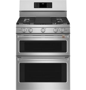 """CGB550P2MS1 Cafe 30"""" Freestanding Double Oven Gas Range with True European Convection and Wi-Fi Connect - Stainless Steel with Brushed Stainless Handles and Knobs"""