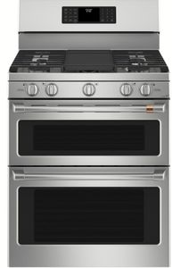 "CGB550P2MS1 Cafe 30"" Freestanding Double Oven Gas Range with True European Convection and Wi-Fi Connect - Stainless Steel with Brushed Stainless Handles and Knobs"